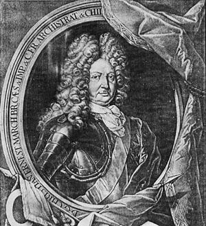 Christian Ernst, Markgraf von Brandenburg-Bayreuth, Schabkunstblatt von Jacob Weigel (um 1690), Erlangen, Stadtarchiv