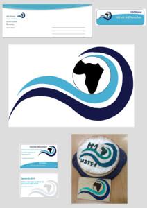 """Spendenkarte, Aufkleber, Logo, Visitenkarten, Kuchen und Keks der fiktiven Firma """"HM Water"""" des Siegerteams"""