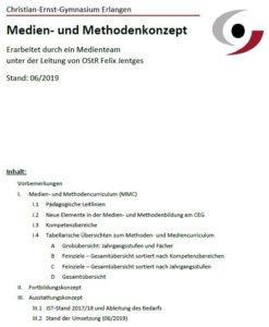 Deckblatt Methoden- und Medienkonzept des CEG